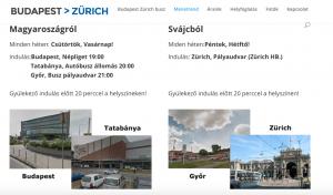 budapest zürich busz menetrend